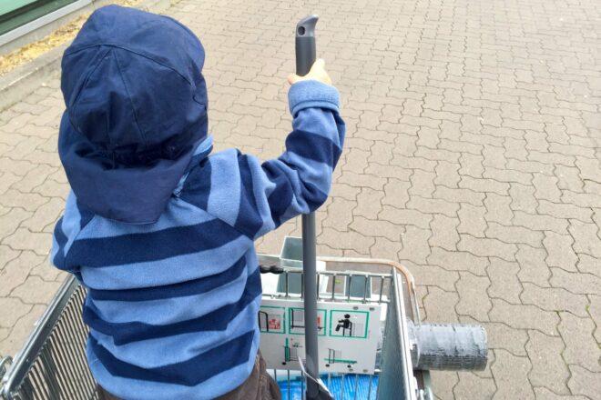 Emil im Einkaufswagen