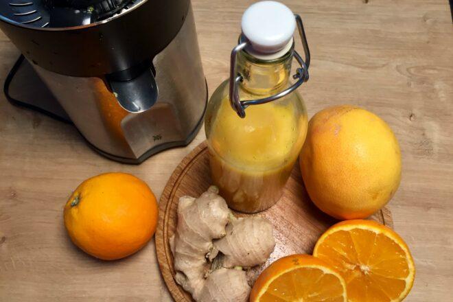 erfrischender Shot aus Ingwer Orange und Grapefruit