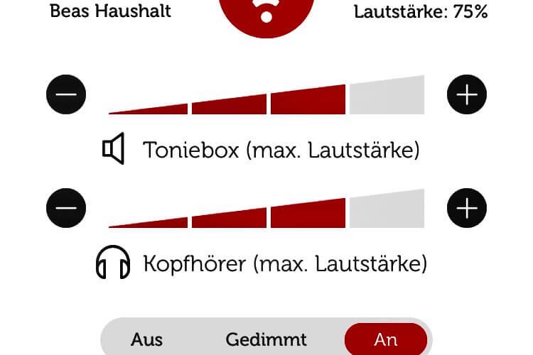 Tonie App:Lautstärke regulieren